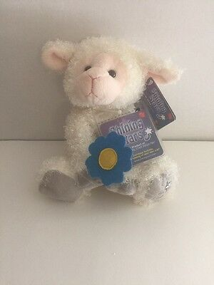 """Russ shining Stars NWT With Code Lamb 8"""" plush Sheep White with blue flower"""