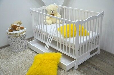 BABY Cot Bed With Drawer Wood White Walnut Mattress Converts to Junior Toddler !