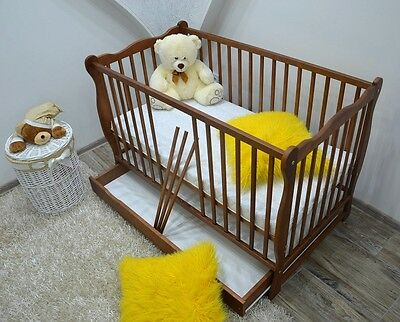 NEW BABY Cot Bed Drawer Wood White Walnut Mattress Convertable to Junior Toddler