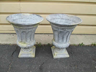 Gar-Aw   Pair Metal Tin? Garden Urns