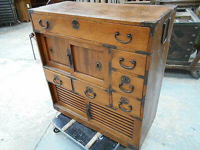 Antique Choba Dansu Merchants Office Chest Cabinet Japanese Circa 1900s #109