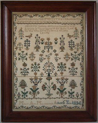 Antique Sampler, 1843, by Mary Ann Marchant