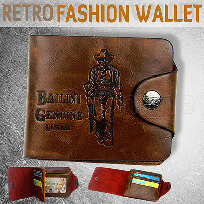 Mens Stylish Genuine Leather Cowhide Wallet Business Credit Card Holder Brown OZ