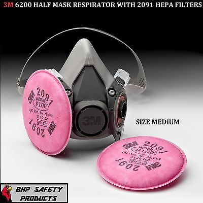 3M 6200 Half Mask Respirator With P100 Dust Filter Cartridges Size Medium 6291