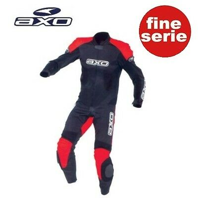 Tuta Axo Monkey Junior In Pelle Da Minimoto Nero-Rosso Tg. Xl
