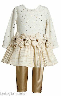 Bonnie Jean Girls Autumn Xmas Gold & Ivory Sparkling Top & Trousers 2 - 6X Years