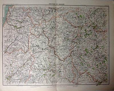 Radnor - Wales - Antique Map c1898 Bartholomew Royal Atlas Of England & Wales
