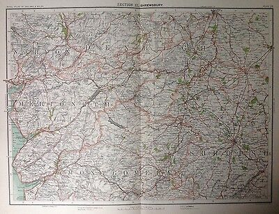 Shrewsbury Area - Antique Map c1898 Bartholomew Royal Atlas Of England & Wales