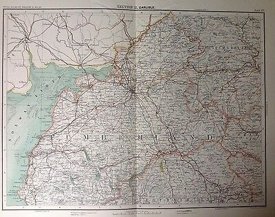 Carlisle - Antique Map c1898 Bartholomew Royal Atlas Of England & Wales
