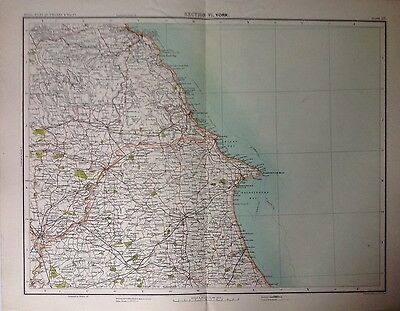 York  - Antique Map c1898 Bartholomew Royal Atlas Of England & Wales