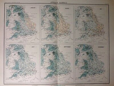 Average Rainfall  - Antique Map c1898 Bartholomew Royal Atlas Of England & Wales