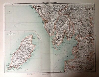 Morecambe - Antique Map c1898 Bartholomew Royal Atlas Of England & Wales