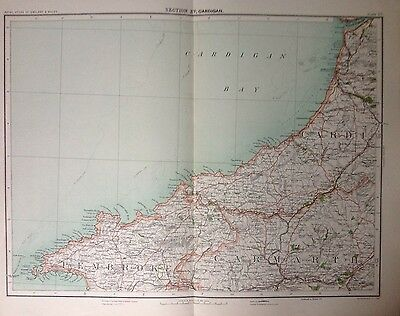 Cardigan  - Antique Map c1898 Bartholomew Royal Atlas Of England & Wales