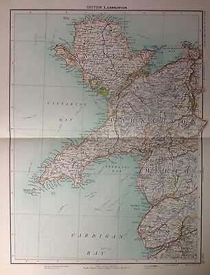 Caernarvonshire  - Antique Map c1898 Bartholomew Royal Atlas Of England & Wales