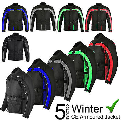 Waterproof Motorbike Motorcycle Cordura Mens Winter Jacket Coat Textile Armours