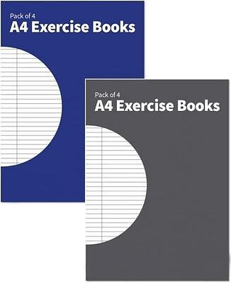 4 Assorted colours A4 Exercise Books School College Lined Ruled Stationery Kids