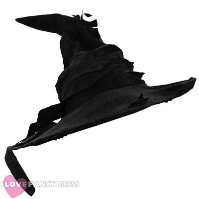 Black Witch Wizard Hat Halloween Fancy Dress Costume Book Film Movie Character