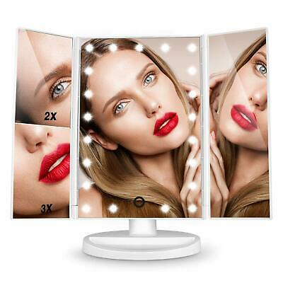 Specchio illuminato per trucco, Ingrandimento 3x 2x 1x, 22 LED + Touch Screen
