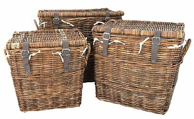 Set of 3 Deluxe Rattan Wicker Storage Hampers With Leather Buckles