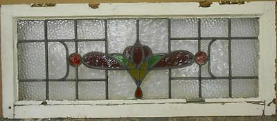 "OLD ENGLISH LEADED STAINED GLASS WINDOW TRANSOM Stunning Floral 35"" x 14.5"""