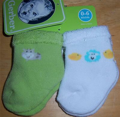 New Gerber Neutral 2 Pack Socks, Baby Shower, Cow, Sheep, Chick, 0-6 Months