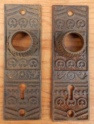Pair (2) Antique Victorian Eastlake Cast Iron Door Knob Backplates