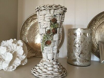Antique Barbola Wicker Vase Urn Wedding Roses Swag Painted Chippy White