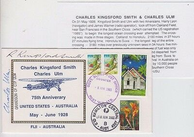Stamps Australia & Fiji on 75th Kingsford Smith & Ulm flight, signed cover sons