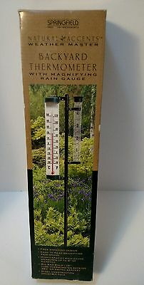 Springfield Backyard Thermometer With Magnifying Rain Gauge NEW