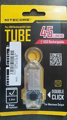 Nitecore TUBE USB Rechargeable Keyring Torch 45 Lumen - Clear