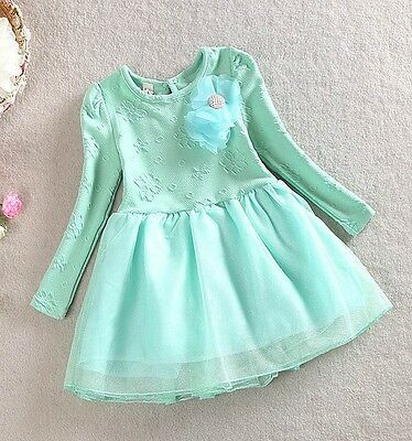 Girl Floral Dress Vintage Lace Tulle TuTu Party Birthday Dress Size 1-7