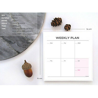 Convenient Stylish Weekly Plan Schedule Memo Check Stick Note Bookmark Pad New