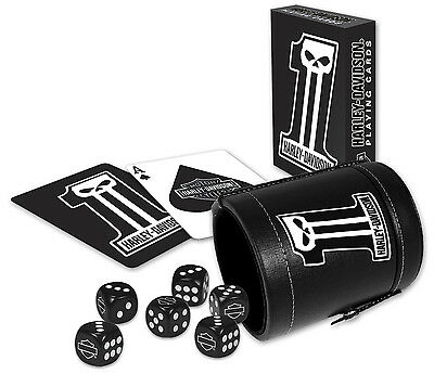 Harley-Davidson® Dark Custom Logo Deck of Playing Cards & Dice Cup Game Set 602D