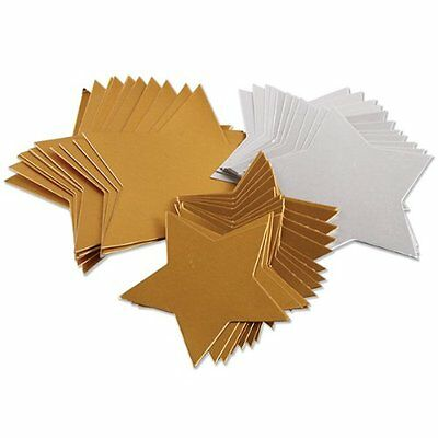 2 x Creation Station Large Stars Card Three Size Pack of 50 Gold & Silver CT4250
