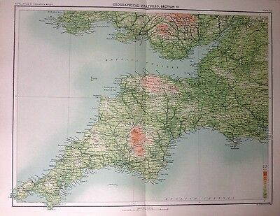 Geographical Features Of England & Wales 4 Antique Map c1898 Bartholomew Large
