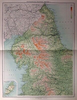 Geographical Features Of England & Wales 1 Antique Map c1898 Bartholomew Large