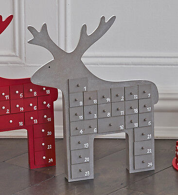Grey Reindeer Advent Calendar Wooden Christmas Xmas Treats Gifts