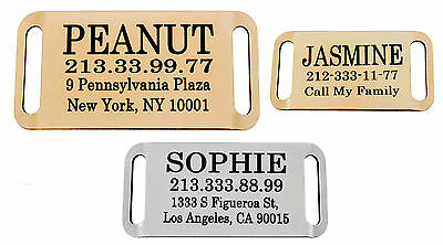 Personalised Dog Tag Slide On Slider Pet ID Name Custom Engraving Brass Steel