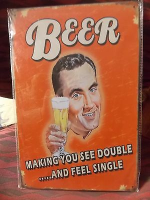 beer making you see double  tin metal sign MAN CAVE brand new or for the  bar