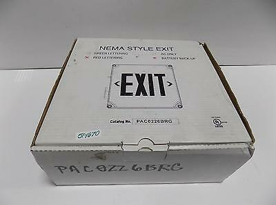 Nema Style Exit Sign  Red Lettering Pac0226Brg Nib