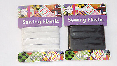 4 Meter White& Black Quality Sewing Elastic Flat Widths 12Mm X 4M Dressmaking