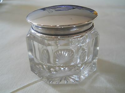 "P W ELLIS STERLING GLASS VANITY JAR 1.5""h 1.5""dia"