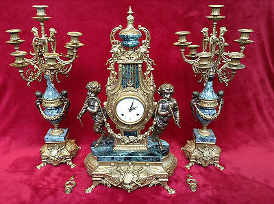 Imperial Italy Brevetatto Ornate Bronze Marble Clock Candelabra Set Windup Chime