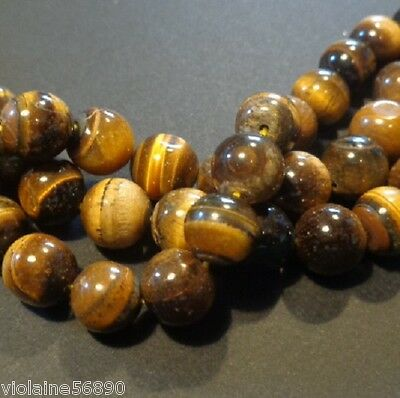 10 PERLES OEIL DE TIGRE PIERRE NATURELLE RONDE 9mm NATURAL TIGER EYE STONE BEADS