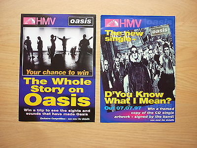OASIS 2 x rare HMV flyers D'You Know What I Mean
