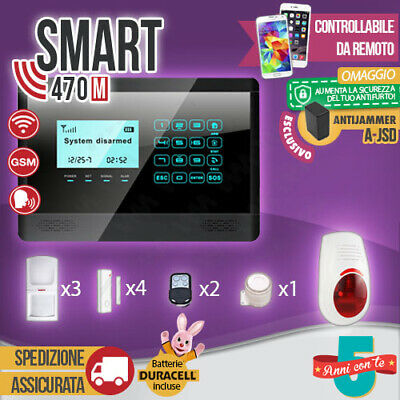 Kit Antifurto Casa Allarme Touch Screen Combinatore Gsm / App Wireless Smart470M