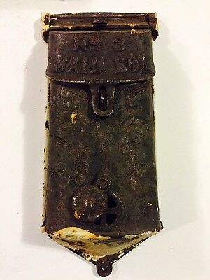 ANTIQUE CAST IRON MAILBOX GRISWOLD No.3 COVERED PEEPHOLE GOOD CONDITION Vintage