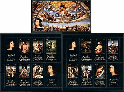 Central Africa Art Nude Middle Ages Raphael complete MNH stamp set 15 sheets