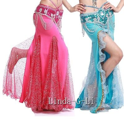 New One side slit with Gold sequins Long Belly Dance Skirt  7 Colors choices 2/4