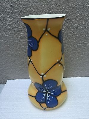 RARE Czechoslovakian pottery Hand Painted VASE Art Deco.  Great for Collectors!